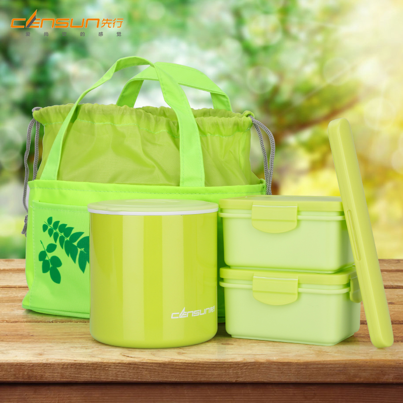 lunch bento box food container eco friendly soup bowl chopsticks spoon double. Black Bedroom Furniture Sets. Home Design Ideas