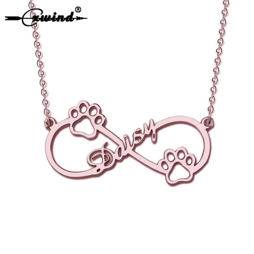 Cxwind Personalized Custom Name Animal Pet Paw Prints Necklaces Jewelry Infinity Charm Pendant Necklace woman Girl Love's Gift