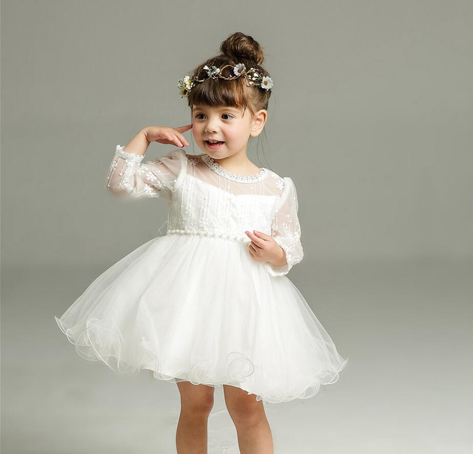 1PC White Pink Tulle Baby Girl Baptism Christening Gown Dress Hollow Lace Girl Party Dress Beads