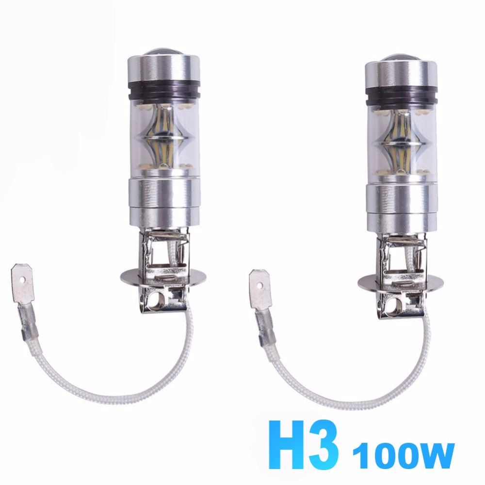 H3 100W Fog Lamps White 6500K 12V Car LED Bulb Light Projector lens Driving Bulbs DRL Daytime Running Lights Auto LED Lamp high quality h3 led 20w led projector high power white car auto drl daytime running lights headlight fog lamp bulb dc12v