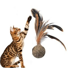 Cat Toy Catnip Ball Feather Shuttlecock Pet Cat Chewing Healthy Interactive Tease Toy Healthy and Non-toxic Toys For Kittens(China)