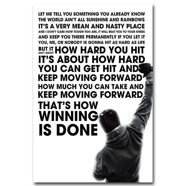 Rocky Balboa Life Is Hard Quote: Rocky Balboa Motivational Quote Art Silk Poster Print