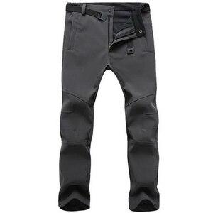 Image 4 - Эластичные водонепроницаемые брюки, мужские повседневные зимние плотные теплые флисовые брюки с акулой кожей, Мужская ветровка, спортивные брюки, мужские тактические брюки