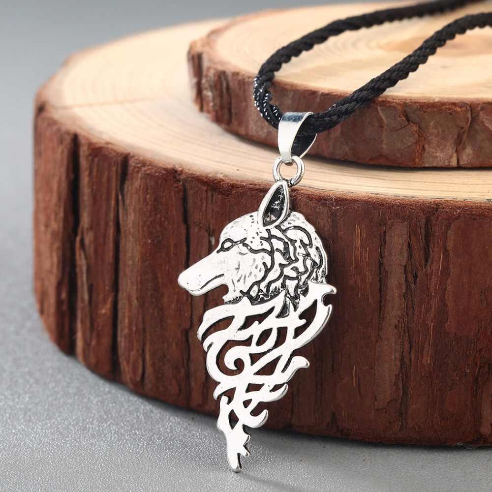 CHENGXUN Viking loup avec noeud celtique Antique religieux pendentif Collier hommes mâle mode Punk Cool garçons Collier
