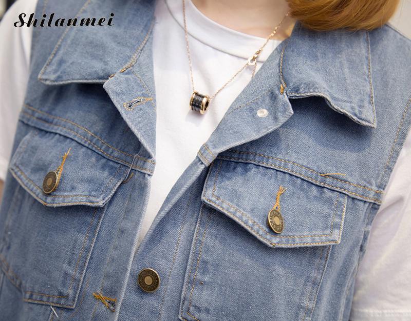 Casual Jeans Jacket Vest Women Plus Size Clothing Sleeveless Waistcoats Lady Outwear Long Summer Jacket Cardigan Colete Feminino
