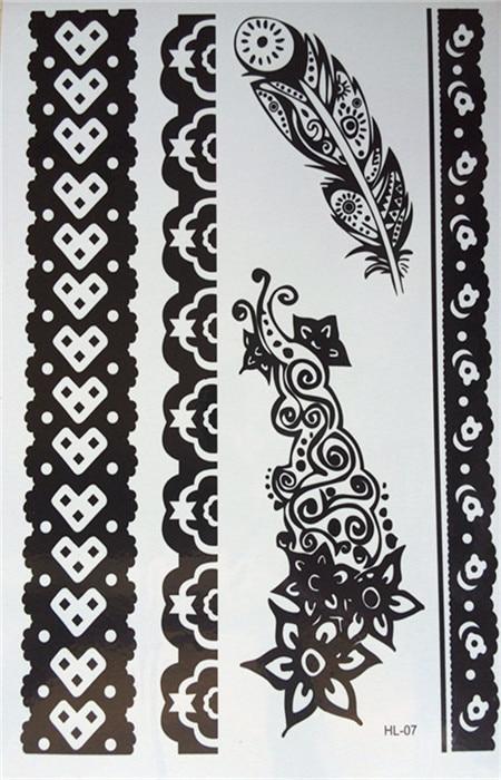 Henna Lace Bracelet Temporary Tattoo Sticker: New Fashion Waterproof Tattoos Black Henna Tattoo, Women