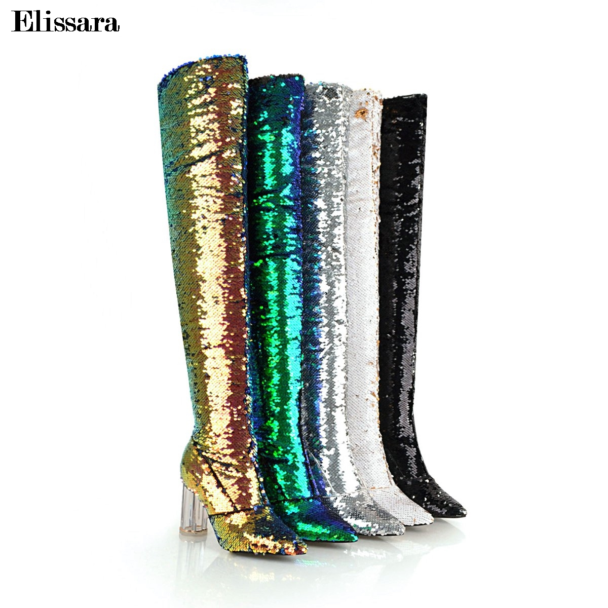 Women Zip High Heels Thigh High Boots Shoes Woman Glitter Bling Gradual Change Color Pointed Toe Boots Shoes Size 33-43 Elissara elissara women ankle boots women high heels boots ladies zip high quality denim pointed toe shoes plus size 33 43