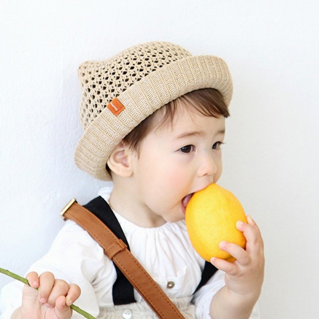 7fe106f847a Baby Hats Fashion Ears Straw cute Hats For Girls Bucket Hat Boys Cap  Children Sun Summer Cap Kids Solid Beach Caps