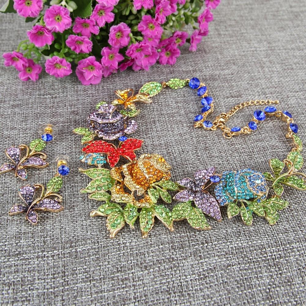 Trandafir smalț floare trandafir fluture animal colier cercei set austriac de bijuterii set pentru femei cadou rochie de petrecere