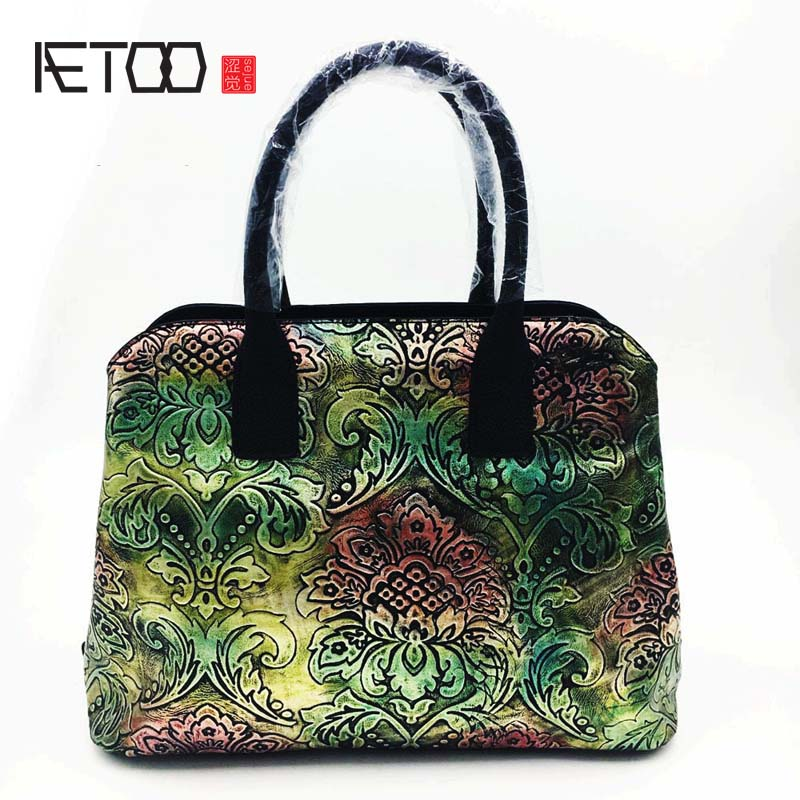 AETOO 2018 new hand-colored female bag the first layer of leather handbag Messenger bag retro leather bagAETOO 2018 new hand-colored female bag the first layer of leather handbag Messenger bag retro leather bag