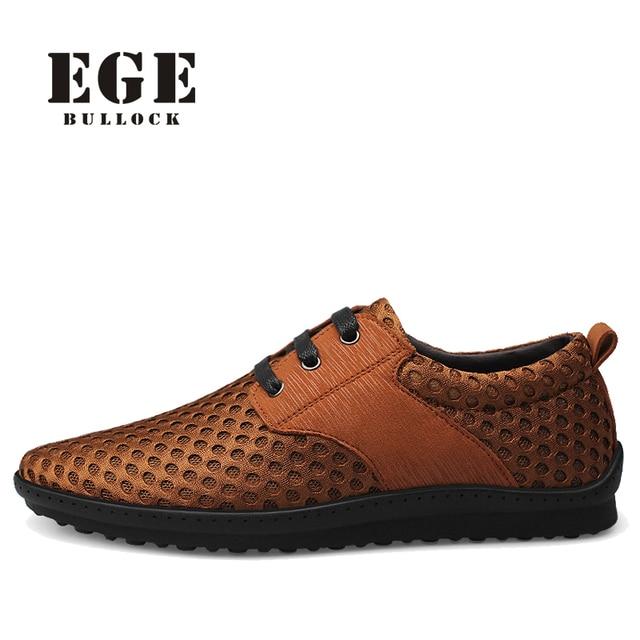 Ege марка мужчины повседневная обувь новый ручной сетки дышащий мужской квартиры Коричневый Летом Стиль, Высокое Качество Отдыха Бренд Обуви для мужчины