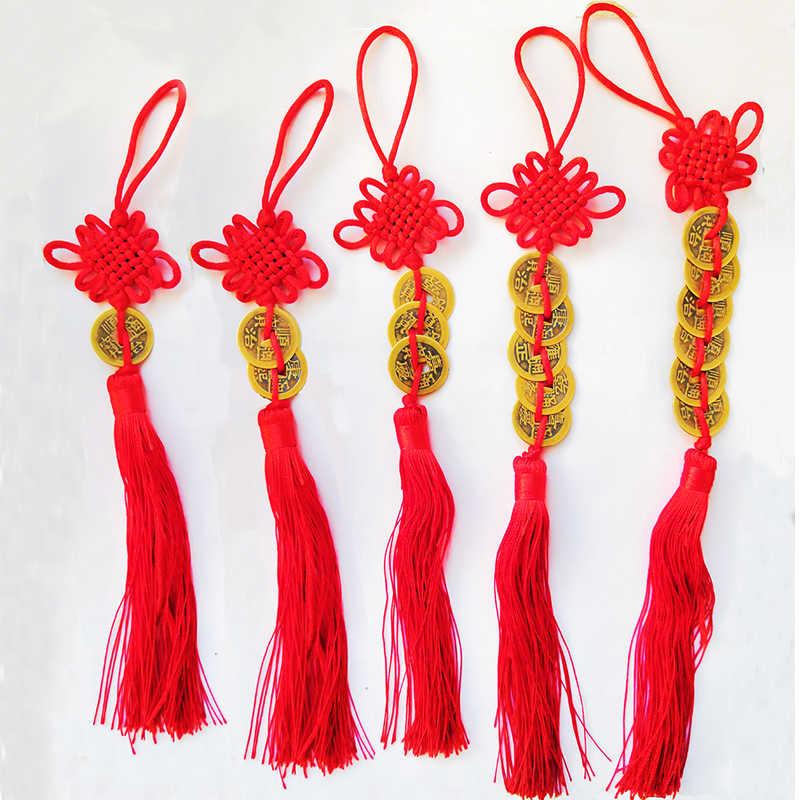 אדום קשר הסיני פנג שואי מזל קסם הגנה עתיק אני צ 'ינג מטבעות שגשוג מזל טוב בית רכב קישוטי עיצוב