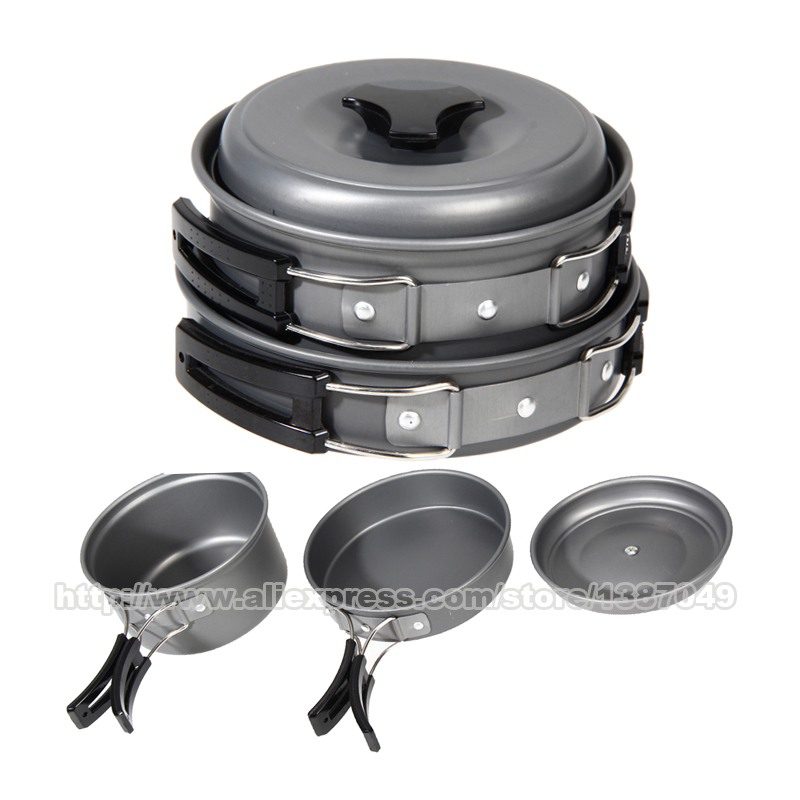 8 Pcs Set Outdoor Cookware Portable Cooking Pots Pans Bowls Camping font b Hiking b font