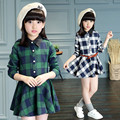 3-14Y, New 2017 Spring Girls Plaid Dress with Waistband Kids Blouse England Style Dress Baby Cotton Dress Children Basic Dress