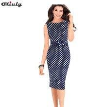 Oxiuly Для женщин 4XL Элегантный Dot печати для похудения Эластичный Платье До Колена Винтаж вечерние Повседневное карандаш платья с поясом