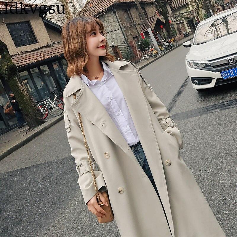 ใหม่ 2019 ฤดูใบไม้ผลิฤดูใบไม้ร่วง Trench Coat ผู้หญิงเกาหลีหลวมเสื้อ Windbreaker Casual Chic Outerwear V242-ใน โค้ทยาว จาก เสื้อผ้าสตรี บน   3