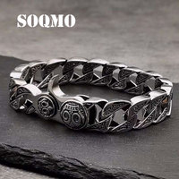SOQMO New 100% Real 925 Sterling Silver Bracelet Bangle for Men Bands Silver 925 jewelry spring clasp Big Brand SQM265