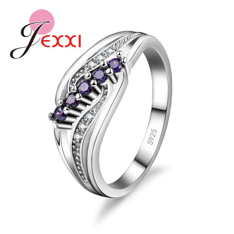 New 925 Sterling Silver Lady Promotion Shiny Zircon Crystal Openwork Multicolor Banquet Holiday Party Christmas Ring