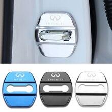4 sztuk Car Styling Auto osłona zamka drzwi samochodu etui z naklejką dla Infiniti FX35 Q50 Q30 ESQ QX50 QX60 QX70 EX JX35 G35 G37 EX3