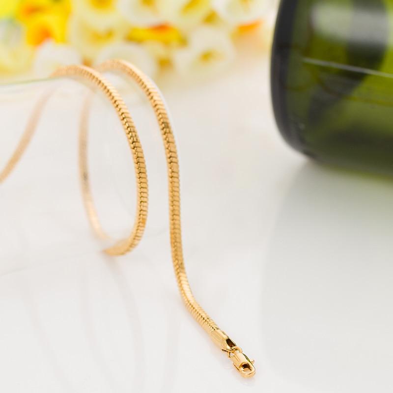c78048a738f2e Longo 45 cm unisex Cobra corrente de ouro trançado ouro amarelo cheio fina  1.2mm 18 20g colar pingente para mulheres dos homens