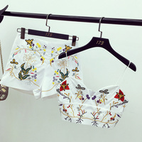 Alphalmoda Women S Embroidery Crop Top And Shorts Summer 2pcs Set Delicate Embroidered Flowers Sexy