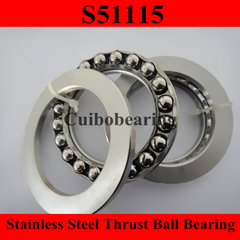 S51115 75x100x19mm 75*100*19mm stainless steel thrust ball bearing 51115 цена