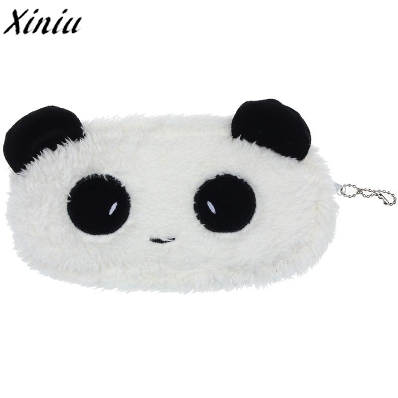 Children Girl Bag Cute Plush Panda Mini Coin Purse Cute Pouch Pen Pencil Makeup Bag for Girls Monedero Mujer Para Monedas #7214