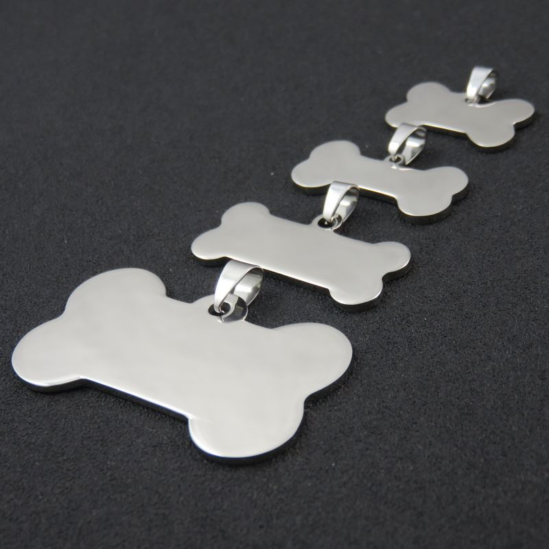 4Sizes High Polished Stainless Steel Blank Dog Tags Pendant Necklace DIY Logo Dog Bone Jewelry Findings