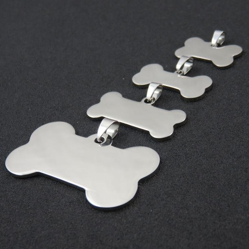 Takı ve Aksesuarları'ten Gerdanlıklar'de 4 boyutları Yüksek Cilalı Paslanmaz Çelik Boş köpek künyeleri Kolye Kolye, DIY Logo Köpek Kemik Takı Bulguları'da  Grup 1