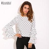 Plus Size ZANZEA Womens Polka Dot Ruffle Flouncing Long Flare Sleeves O Neck Blouse Fashion Office
