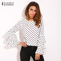 Plus Size ZANZEA Womens Polka Dot Ruffle Flouncing Long Flare Sleeves O Neck Blouse Fashion Office Female Tops Shirt Blusas 2017