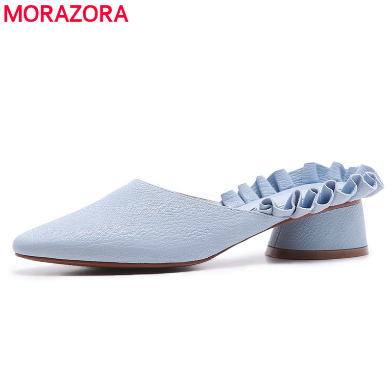 MORAZORA 2018 new genuine leather shoes women sandals round heels slip on mules women sweet casual party shoes ladies footwear new women shoes women sandals squared heels summer 2017 slip on casual low heels genuine leather round toe roman black shoes