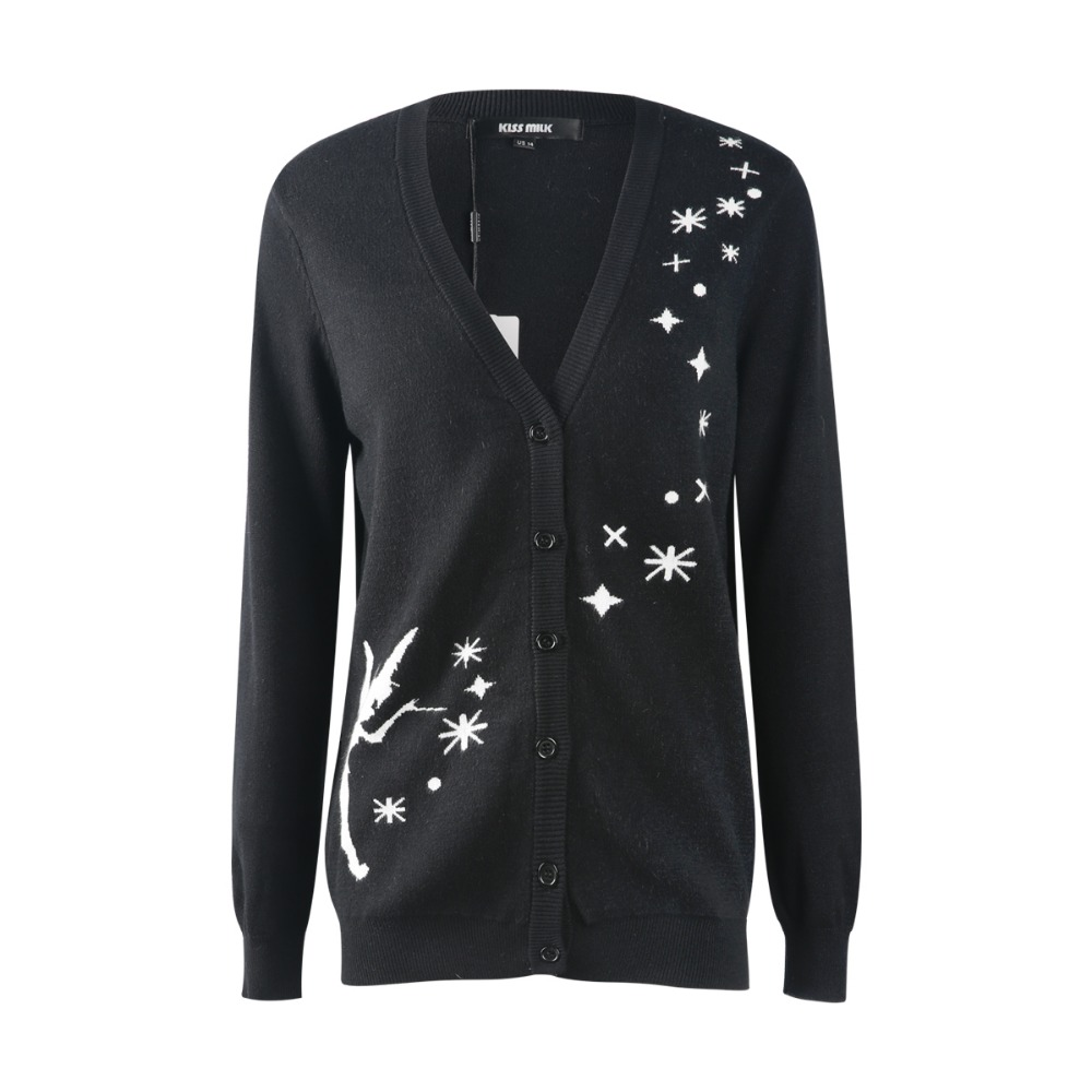 kissmilk 2018 Plus Size Women Sweaters Floral Appliques V-Neck Long Sleeve Female Cardigans Solid Black Lady Big Size Sweaters