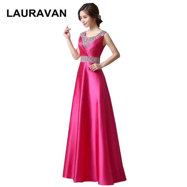 Long Purple Fuchsia Elegant Women New Arrival A-line Satin Sleeveless Bridesmaid Dress Formal Dresses Size 8 V Neck Back Gown