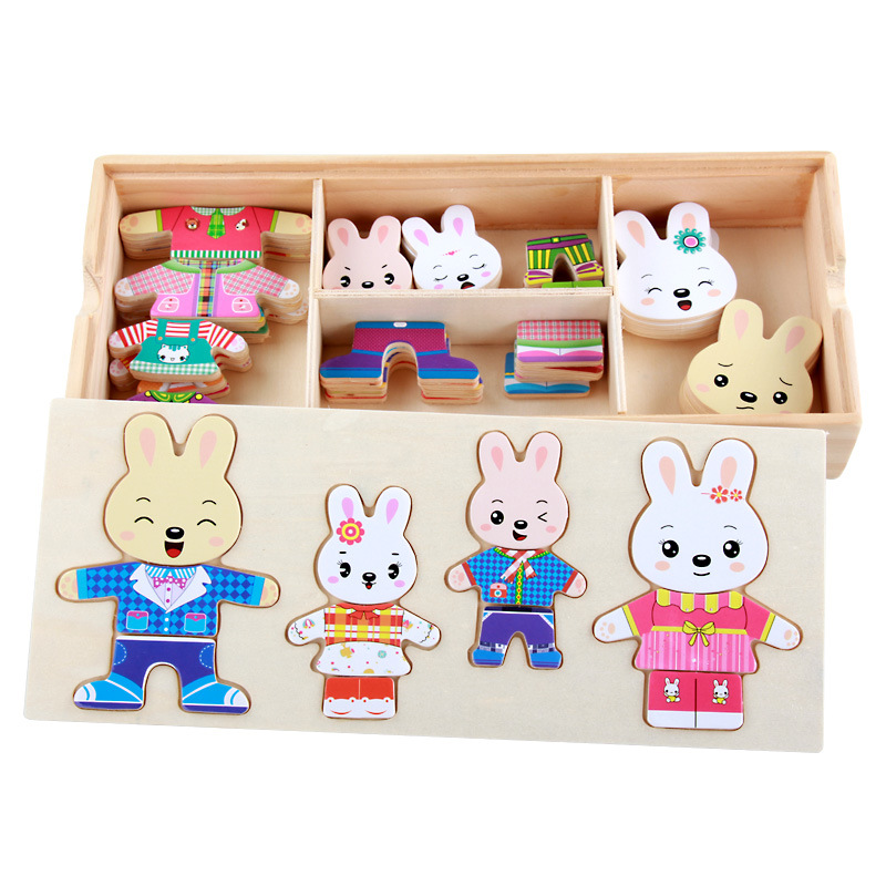 Cartoon Rabbit Change Clothes Wooden Toy Puzzles Montessori Educational Dress Changing Jigsaw Puzzle Toys for Children Baby Girl