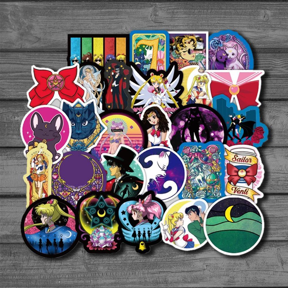50Pcs Japanese Classics Anime Sailor Moon Sticker For Laptop Skateboard Waterproof Stationery Sticker Scrapbook Craft Decor