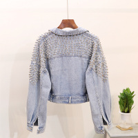 European Vintage Short Jean Jacket Coat Woman 2018 Autumn New Heavy Rivet Loose Bat Sleeve Denim Jackets Women's Handsome Jacket