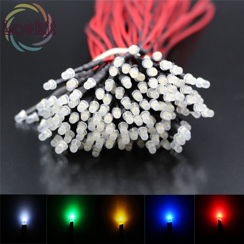 20pcs 3mm Diffused Round Top 12v DC 20cm Pre-Wired 6 Colors Optional LED Emitting Diode For Automotive Light Toy DIY Hot SALE