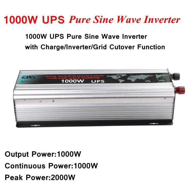 1000W UPS Pure Sine Wave Inverter DC12V/24V to AC220V Solar Power Inverter Converter with Charge/Inverter/Grid Cutover Function p800 481 c pure sine wave 800w soiar iverter off grid ied dispiay iverter dc48v to 110vac with charge and ups