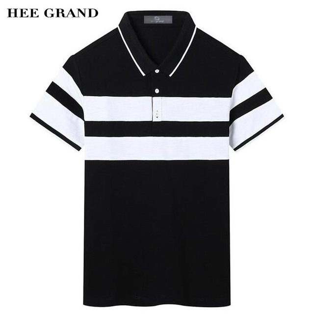 HEE GRAND 2017 Summer Men's Polo Shirt Typical Wide Stripe Design 100% Cotton Material High Quality Polo Shirts MTP410