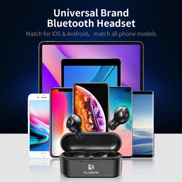 FLOVEME Mini TWS Wireless Headphones Bluetooth 5.0 Earphone Sport Earphones Headset 3D Stereo Sound Earbuds Micro Charging Box 3
