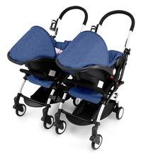 Wózek dla bliźniąt lekki zdejmowany wózek dla bliźniaków wózek z siedzeniem samochodowym + zestaw samochodowy fotelik bezpieczeństwa dla dzieci cochecito bebe gemelar 3C tanie tanio Ecoz CN (pochodzenie) 25kg Numer certyfikatu 13-18 M 2-3Y 4-6 M 7-9 M 19-24 M 4-6Y 10-12 M 0-3 M