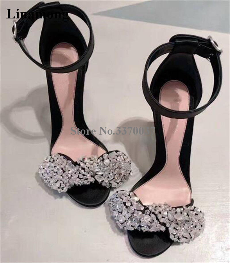 Women Luxury Bling Bling Open Toe Suede Leather Rhinestone Thin Heel Sandals Ankle Straps Crystal High Heel Sandals Dress Shoes книга музы вдохновившие мир page 5