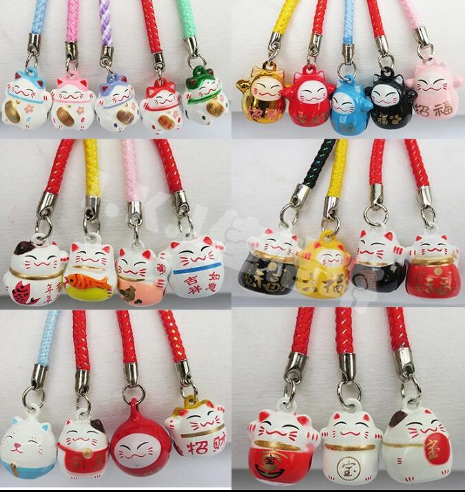 100 Pcs Cartoon Lucky Cats Jingle Bells,Christmas Decoration,DIY Crafts,Cartoon Lanyard Accessories Bell Key Chains Gifts M-01