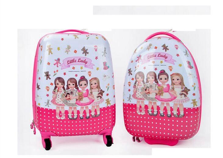 Bagaj ve Çantalar'ten Tekerlekli Bagaj'de Çocuk Seyahat Haddeleme Bavul 18 Inç çocuk bavul kabin Bagaj bavul kızlar için arabası bagaj Tekerlekli Bavul tekerlekli çantalar'da  Grup 1