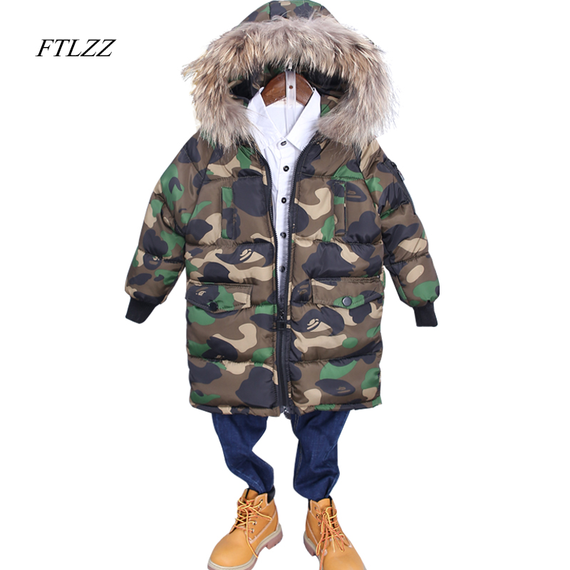 Children's Down Jacket Camouflage Print Long Thick Boy Winter Coat Cotton-padded Jackets Girls Boys Outerwear Real Fur Collar winter chinese style retro frog contrast color frog and print jacket coat cotton padded jacket windbreaker