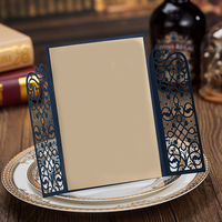 50pcs Blue Laser Cut Wedding Invitations Cards With Delicate Door Cut Carved Pattern Customize Event Party