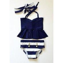 2016 Baby Girls Kids Tankini Bikini Suit Button Striped Bottoms Swimsuit Swimwear Bathing Suit