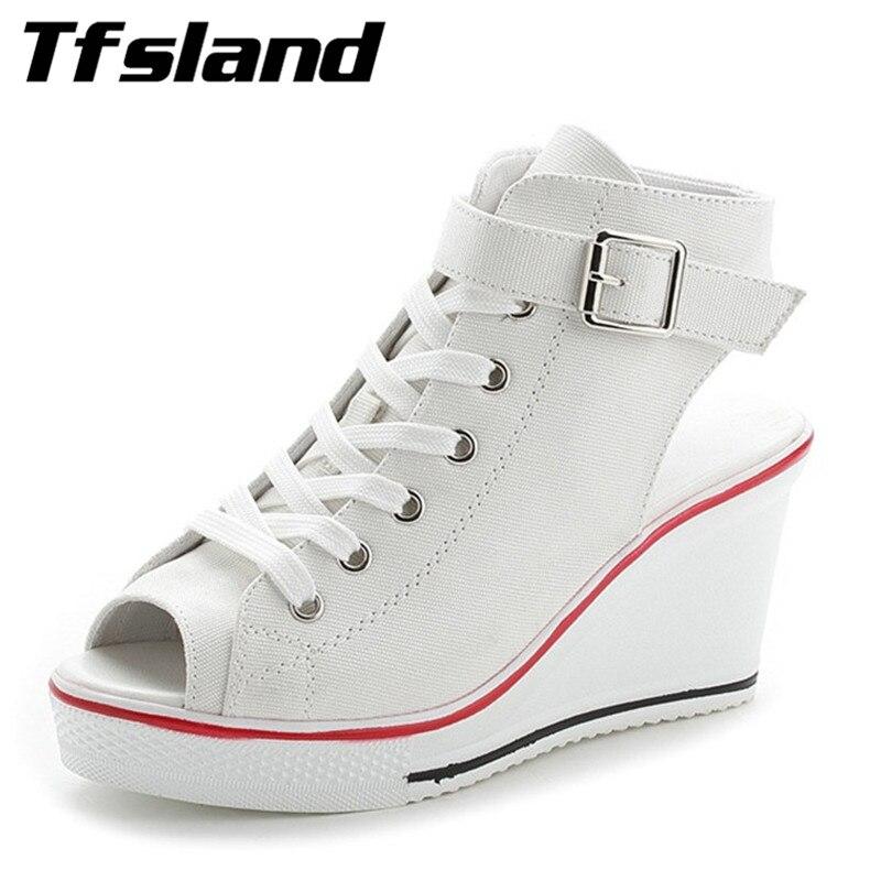 Nieuwe Sexy Vrouwen Lace Up Sneakers Open Teen Wedge Platform Canvas Schoenen Vrouwelijke Metalen Gespen Sandalen Zapatos Mujer Wandelschoenen