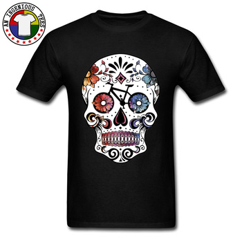 Flower Sugar Skull Watercolor T Shirt Cycle Biker Skull Mexico Tshirts 100% Cotton Men T-shirts 3D Printed Faddish Geek T-Shirt